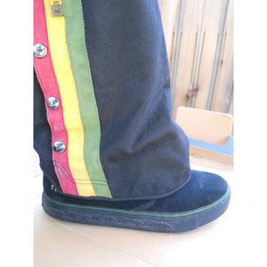 L.A.M.B. Gwen Stefani Black Suede Rasta Boots 8.5